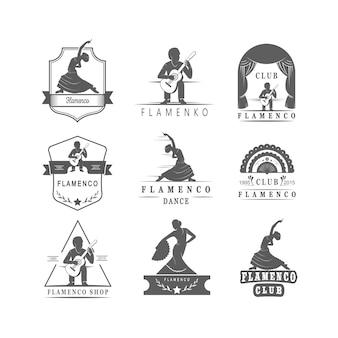 Coleção de emblemas de flamenco.