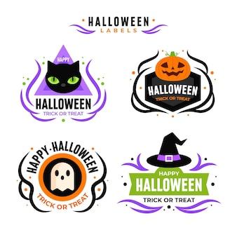 Coleção de emblemas de halloween de design plano