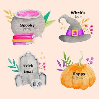 Coleção de emblemas de halloween em aquarela