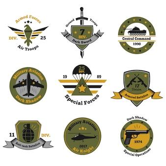 Coleção de emblemas de insígnias de serviço