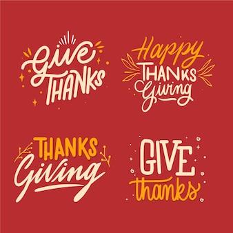 Coleção de emblemas de letras feliz dia de graças