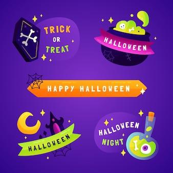 Coleção de emblemas de liquidação de halloween gradiente