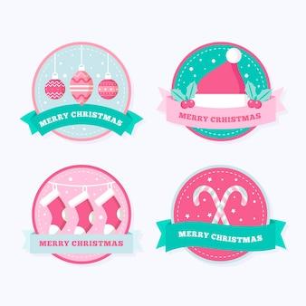 Coleção de emblemas de natal em design plano