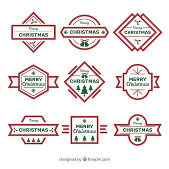 Coleção de emblemas de natal simples