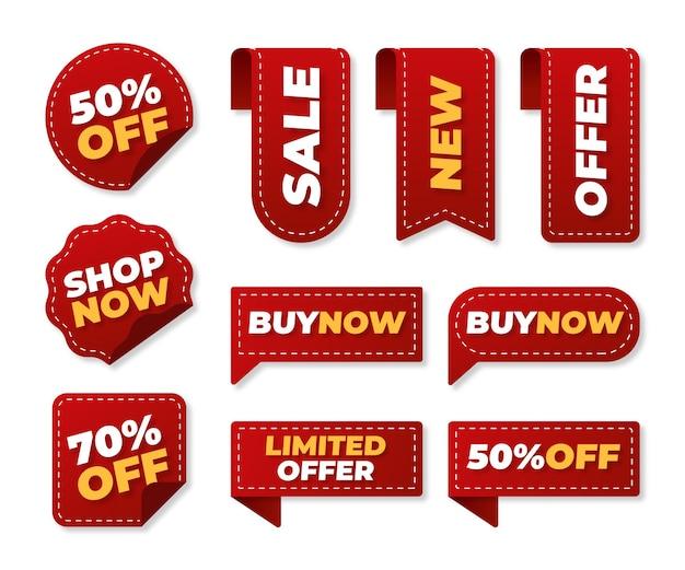 Coleção de emblemas de ofertas de venda