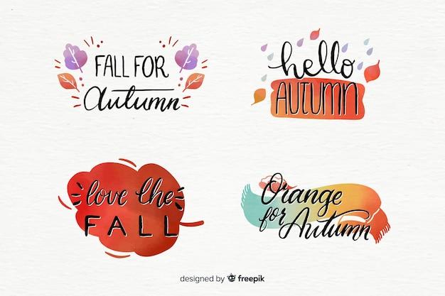 Coleção de emblemas de outono em aquarela