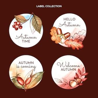 Coleção de emblemas de outono em aquarela Vetor grátis