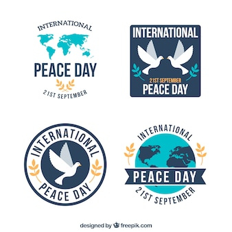 Coleção de emblemas de paz com design plano