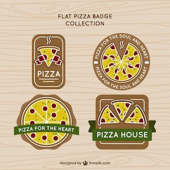 Coleção de emblemas de pizza no estilo do vintage
