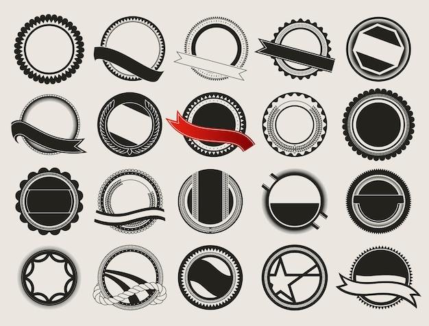 Coleção de emblemas de qualidade premium e etiquetas de garantia com design retro vintage.
