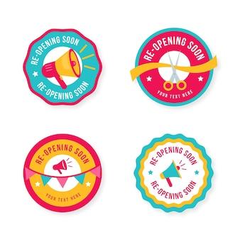 Coleção de emblemas de reabertura em breve