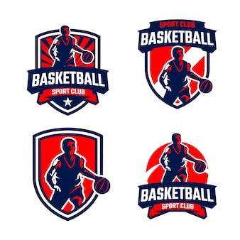 Coleção de emblemas de silhuetas de jogadores de basquete