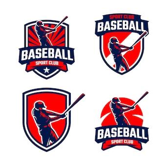 Coleção de emblemas de silhuetas de jogadores de beisebol