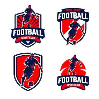 Coleção de emblemas de silhuetas de jogadores de futebol