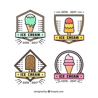Coleção de emblemas de sorvete