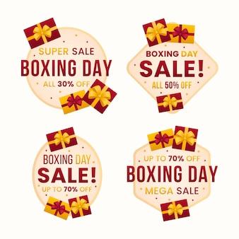 Coleção de emblemas de venda de boxing day design plano