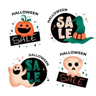Coleção de emblemas de venda de halloween desenhado à mão