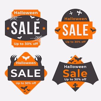 Coleção de emblemas de venda de halloween em design plano