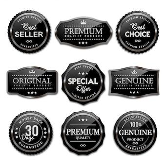 Coleção de emblemas de venda e etiquetas preto brilhante