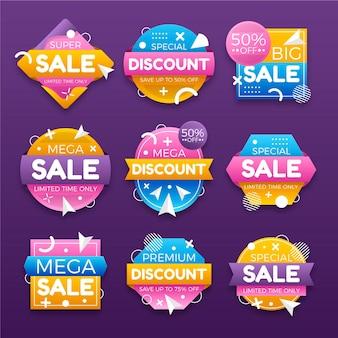 Coleção de emblemas de venda gradiente