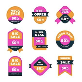 Coleção de emblemas de venda plana