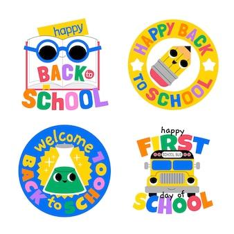Coleção de emblemas de volta às aulas em desenho animado