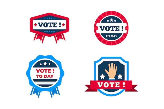 Coleção de emblemas de votação e adesivos