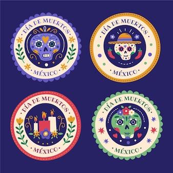 Coleção de emblemas desenhados à mão com diâmetros planos