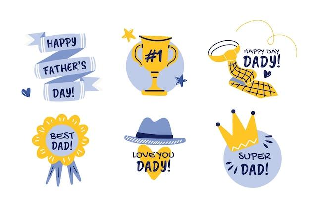 Coleção de emblemas desenhados à mão para o dia dos pais