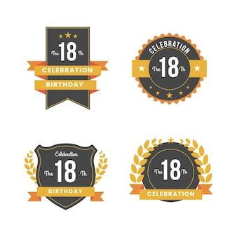 Coleção de emblemas do 18º aniversário