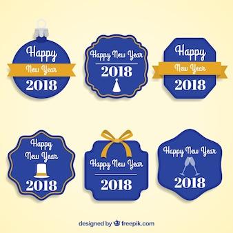 Coleção de emblemas do ano novo azul escuro