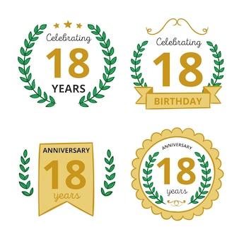 Coleção de emblemas do décimo oitavo aniversário