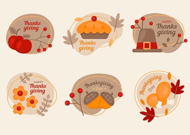 Coleção de emblemas do dia de ação de graças em design plano