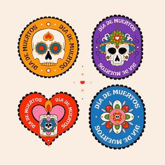 Coleção de emblemas do dia de muertos desenhada à mão