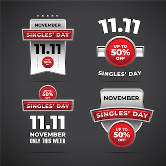Coleção de emblemas do dia de solteiros