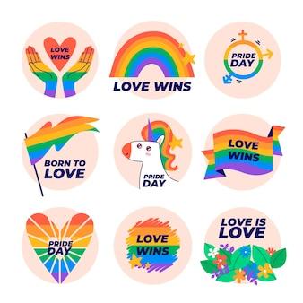Coleção de emblemas do dia do orgulho desenhada à mão