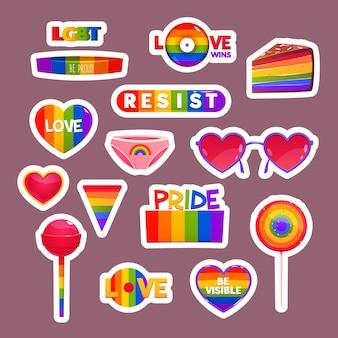 Coleção de emblemas do dia do orgulho dos desenhos animados
