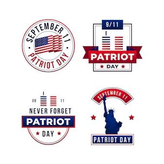 Coleção de emblemas do dia do patriota do gradient 9.11