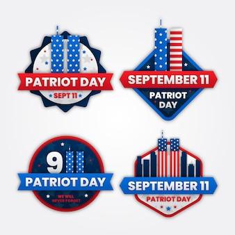 Coleção de emblemas do dia do patriota em estilo papel 9.11