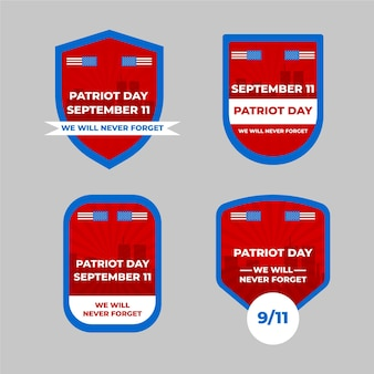 Coleção de emblemas do dia do patriota flat 9.11
