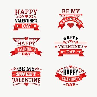 Coleção de emblemas do dia dos namorados de design plano