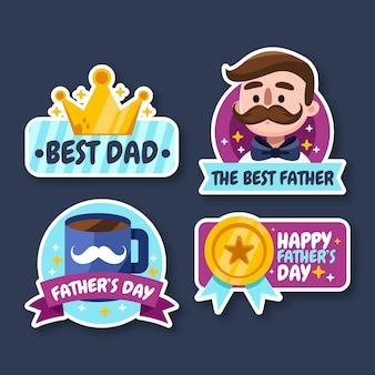 Coleção de emblemas do dia dos pais de desenho animado