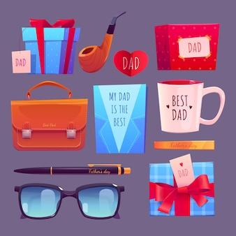 Coleção de emblemas do dia dos pais em desenho animado
