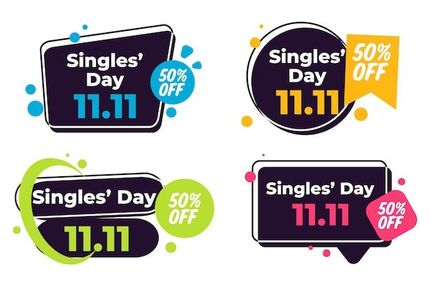 Coleção de emblemas do dia dos solteiros