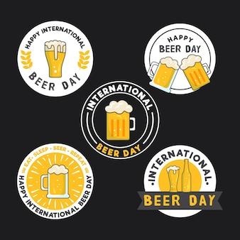 Coleção de emblemas do dia internacional da cerveja