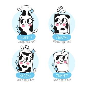 Coleção de emblemas do dia mundial do leite desenhado à mão