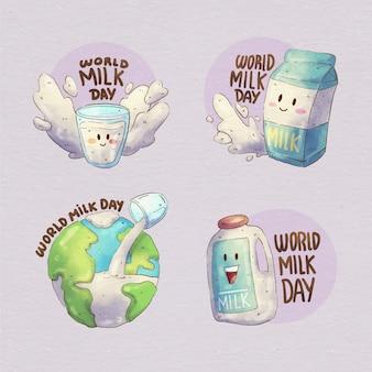Coleção de emblemas do dia mundial do leite em aquarela pintada à mão