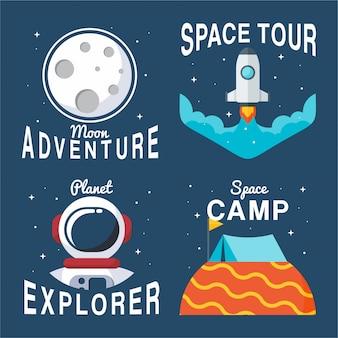Coleção de emblemas do espaço