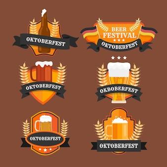 Coleção de emblemas do flat oktoberfest