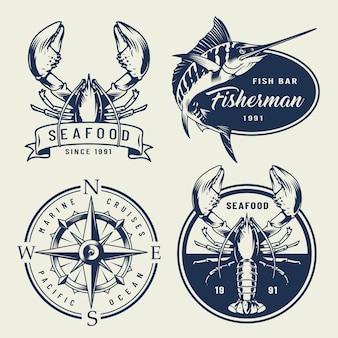 Coleção de emblemas do mar vintage